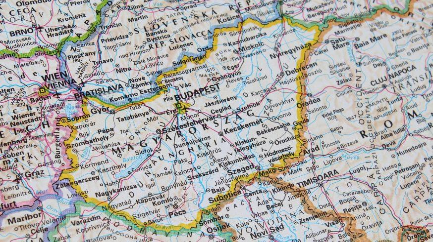 Landkarte mit Budapest
